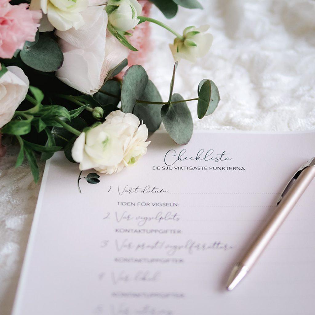 checklista för bröllopsplanering